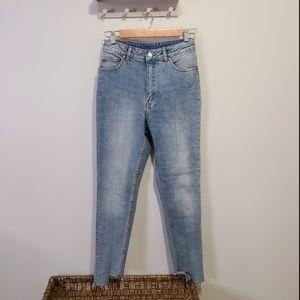 Cheap Monday Light Wash Skinny Jeans Rough Edge
